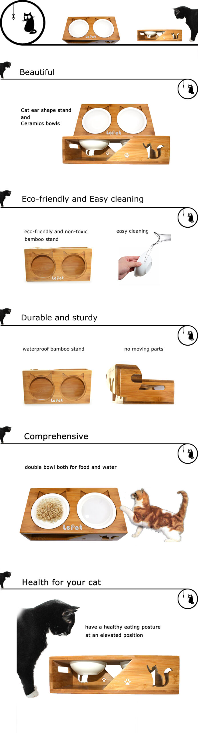 Elevated Dog Cat Bowls Raised Pet Feeder With Solid Bamboo Stand