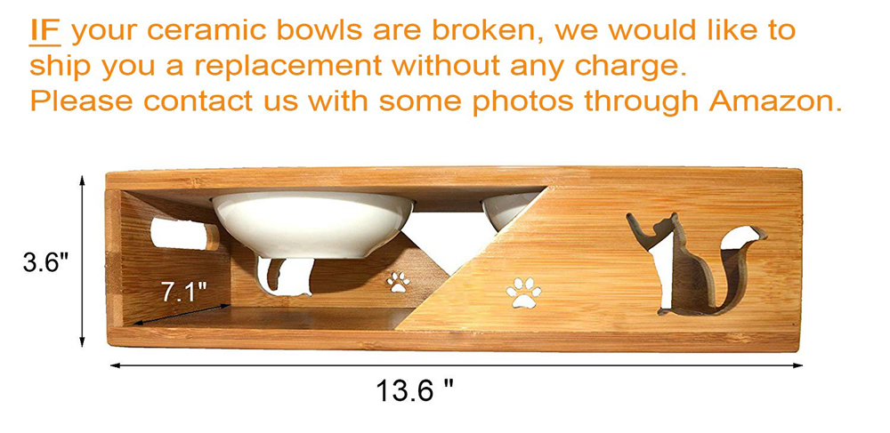 Stainless Steel pet bowls Elevated Dog Cat Bowls Raised Pet Feeder With Solid Bamboo Stand