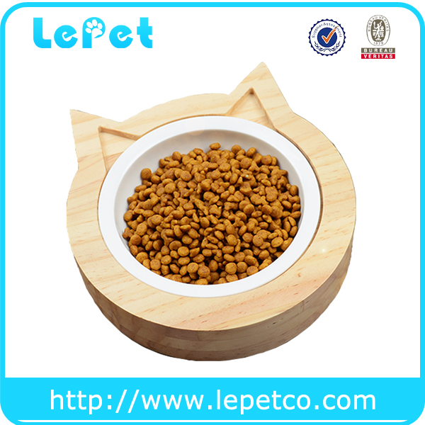 LePet Ceramic Bowl for Cats with Cat Ear Shape Pet Feeder Stand(Natural Solid Pinewood)
