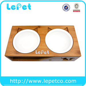 LePet Elevated Pet Feeder Ceramic Cat Bowl with Elevated Solid Bamboo Stand