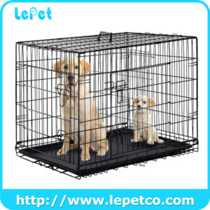 Includes Feet & Leak-Proof Plastic Pan Metal Folding Pets Dog Crate Dog Cage