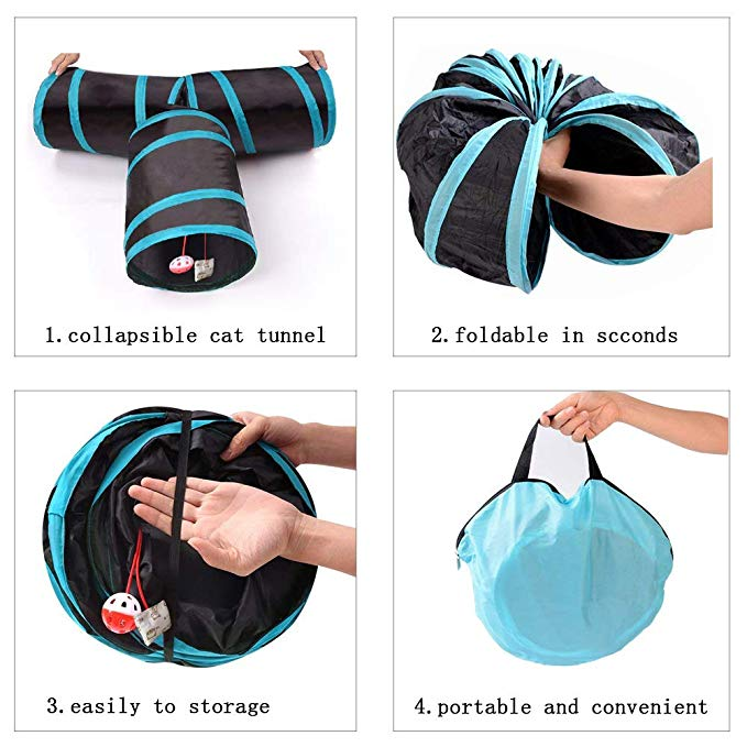 Collapsible 3 Way Cat Tube Kitty Tunnel Bored Cat Pet Toys with Peek Hole and for Cat, Puppy, Kitty, Kitten, Rabbit