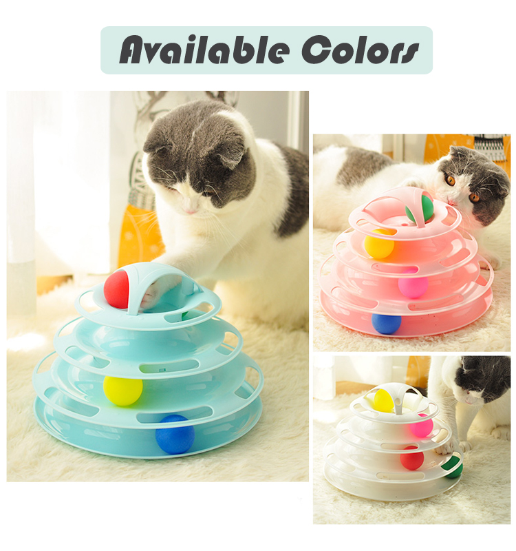 Cat Toy Roller Cat Toys 4 Level Towers Tracks Roller with four Colorful Ball Interactive Kitten