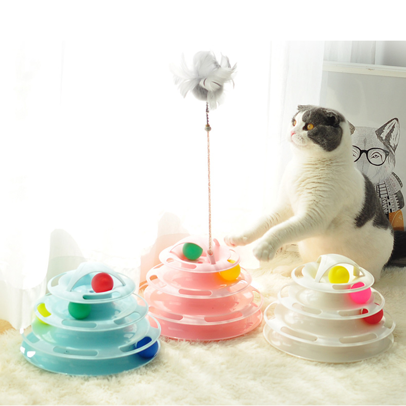 Interactive Cat Ball Toy 4 layer colorful Cat track tower toy