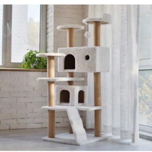 Plush Wooden Cat Condo Tower Supplier Cat House Tower Furniture Cat Scratcher Tree