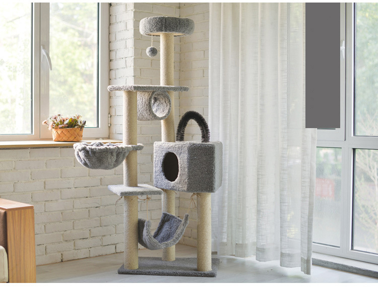 Factory Wholesale Cat Tree Tower with Scratching Posts Cat Hammock and Condo Cat Scratcher Tree