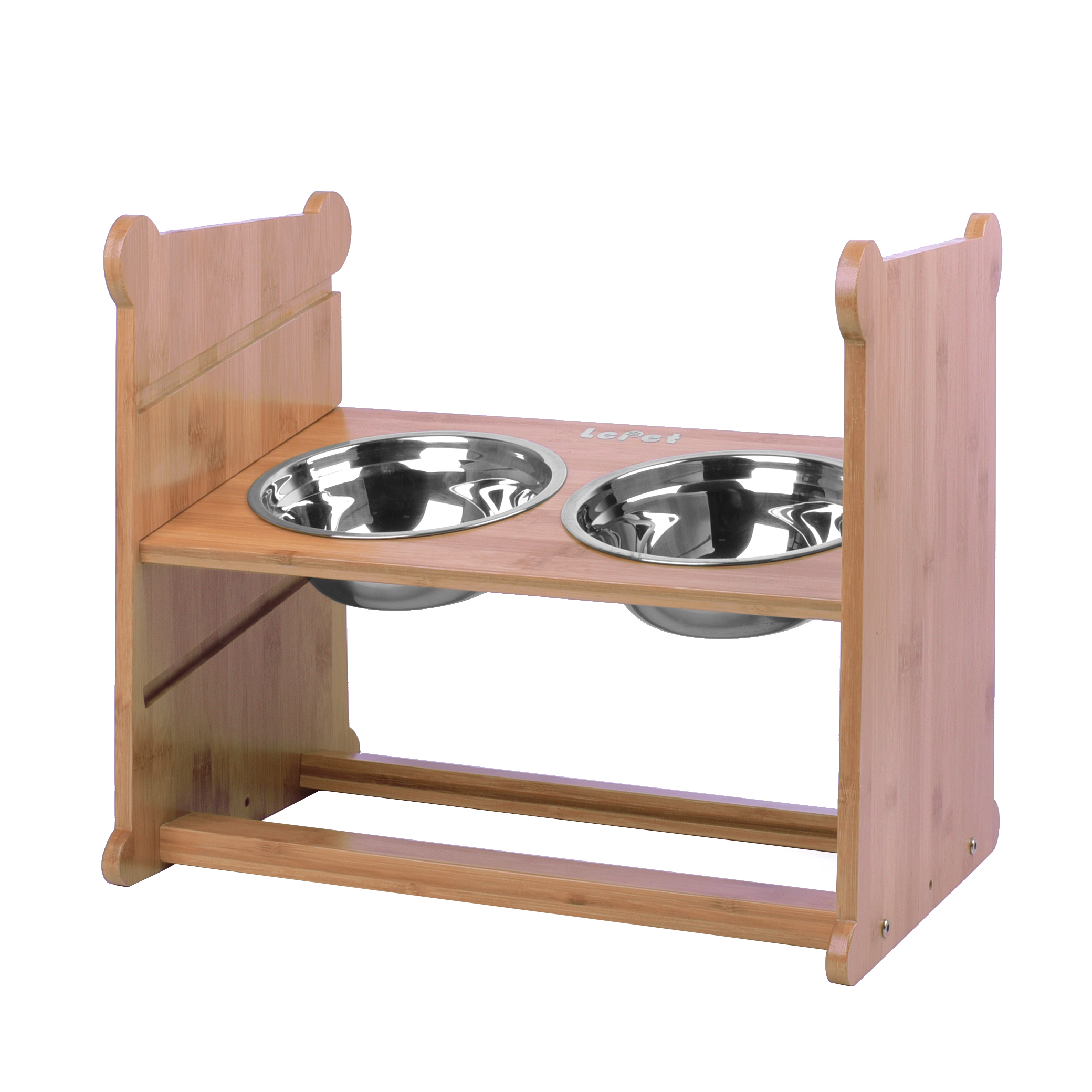 Elevated Pet Feeder with 2 Stainless Steel Bowls