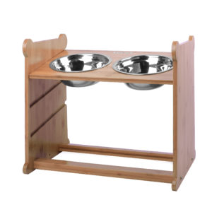 Adjustable Height Bamboo Elevated Dog Bowls Elevated Pet Feeder with 2 Stainless Steel Bowls