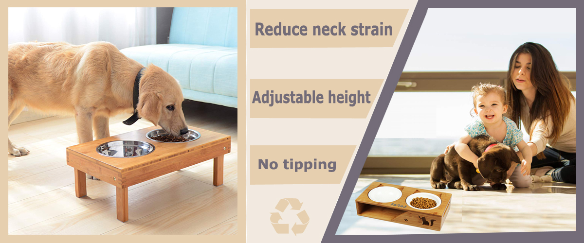 Adjustable Height Elevated Dog Bowls Elevated Pet Feeder