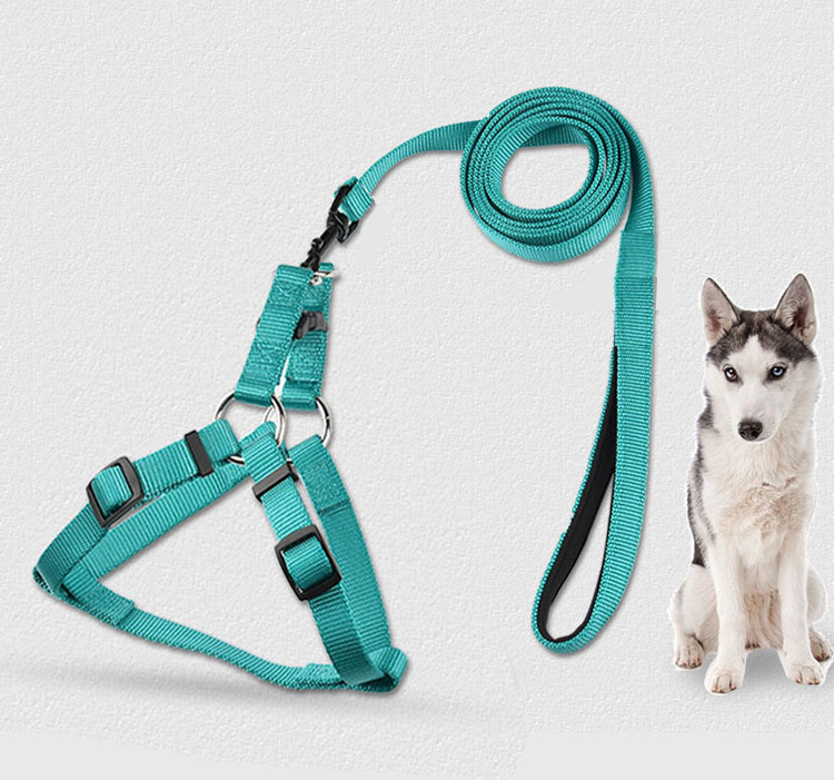 Factory wholesale adjustable durable dog leash and harness set