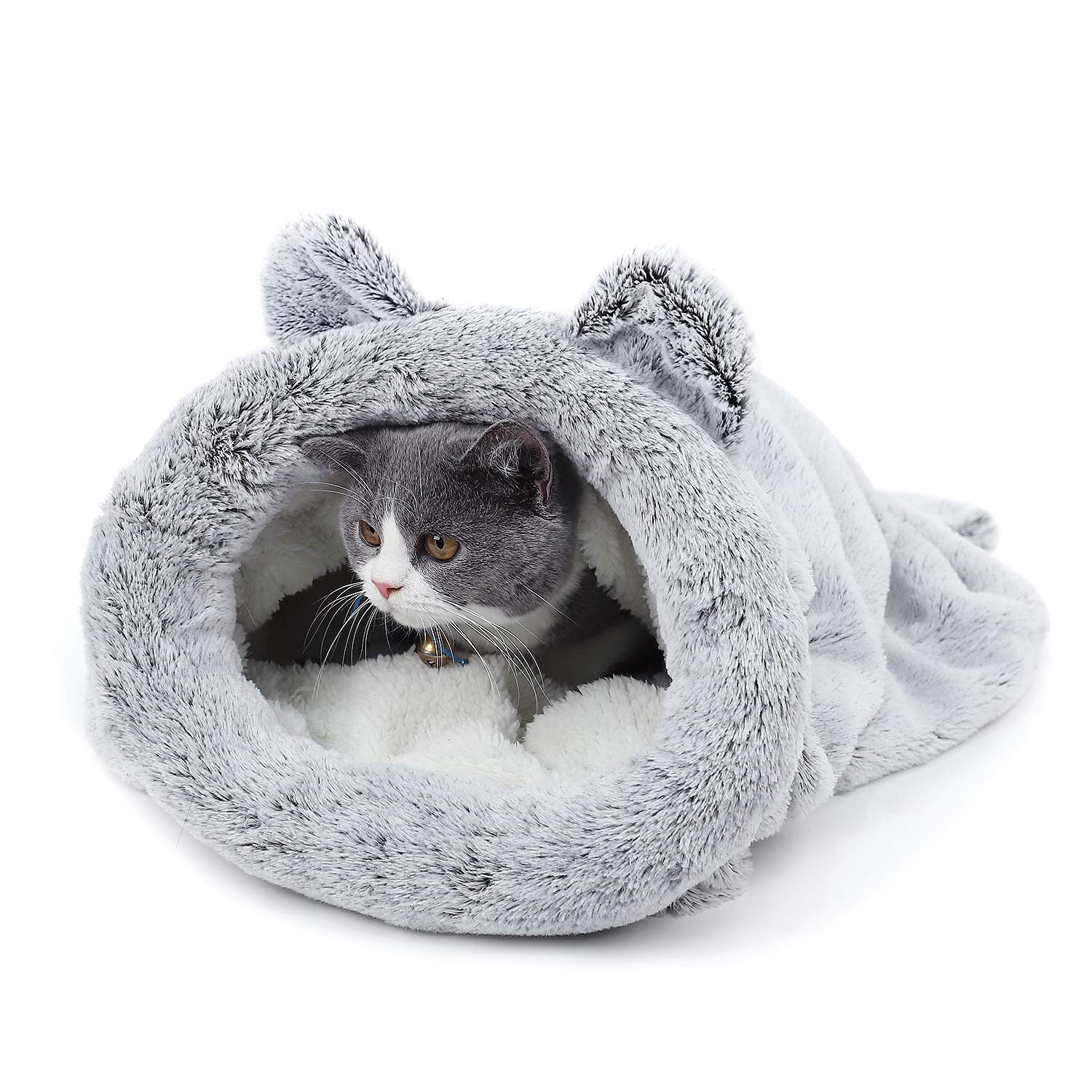 Soft cozy pet bed self-warming cat hooded cave kitty sack cat sleeping bag cat cave