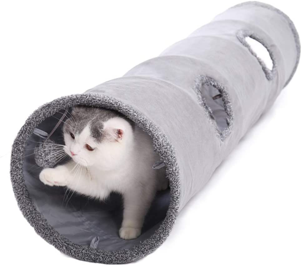 Pet Collapsible Cat Tunnel Cat Toy Play Tunnel Durable Suede Hideaway Cat Crinkle Tunnel with Ball