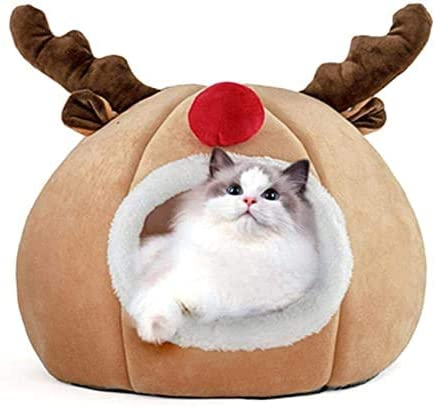Christmas Pet Tent Cat Cave Bed Cat Tent House Kitten Bed Cave for Cats